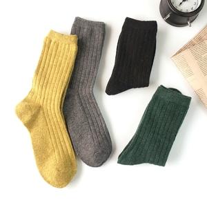 韩国秋冬复古加厚中筒袜纯色条纹简约羊毛抽条保暖女士袜子森系
