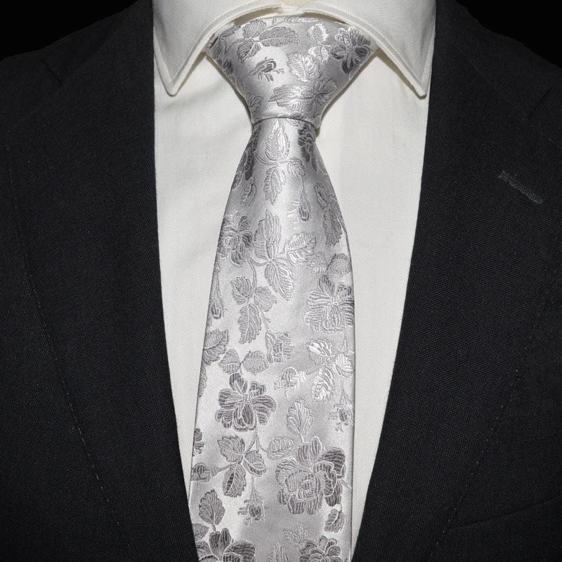 Ptah Atum 宴会领带 商务 白色花纹真丝正装结婚领带 时尚男领带