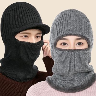 帽子男冬天韩版加绒保暖针织帽子女冬护耳套头毛线帽骑车防风帽子