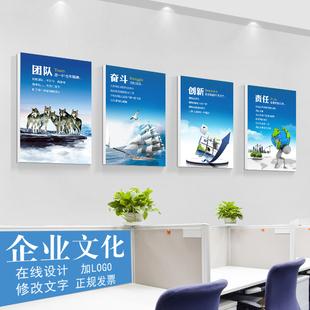 公司办公室装饰画励志标语企业文化墙挂画会议室海报无框壁画定制