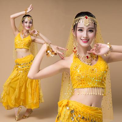 肚皮舞演出服2018新款印度沙丽服装印度舞蹈服装演出服成人女套装