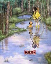 超清晰彩色十字绣重绘图纸源文件森林女孩日记73