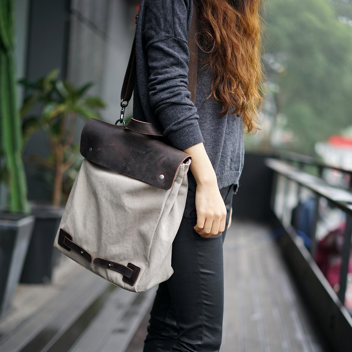 潮人滙新款韩版学生女包 复古帆布女士背包 两用可单肩双肩包包