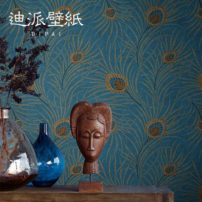 东南亚风格无纺布蓝色墙纸孔雀蓝羽毛壁纸凤尾电视背景墙客厅卧室