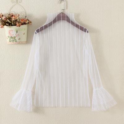 网纱打底衫女蕾丝内搭长袖套头透明纱网罩衫性感半高领喇叭袖上衣