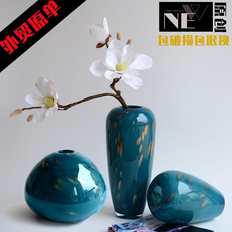 蓝色玻璃花瓶 地中海
