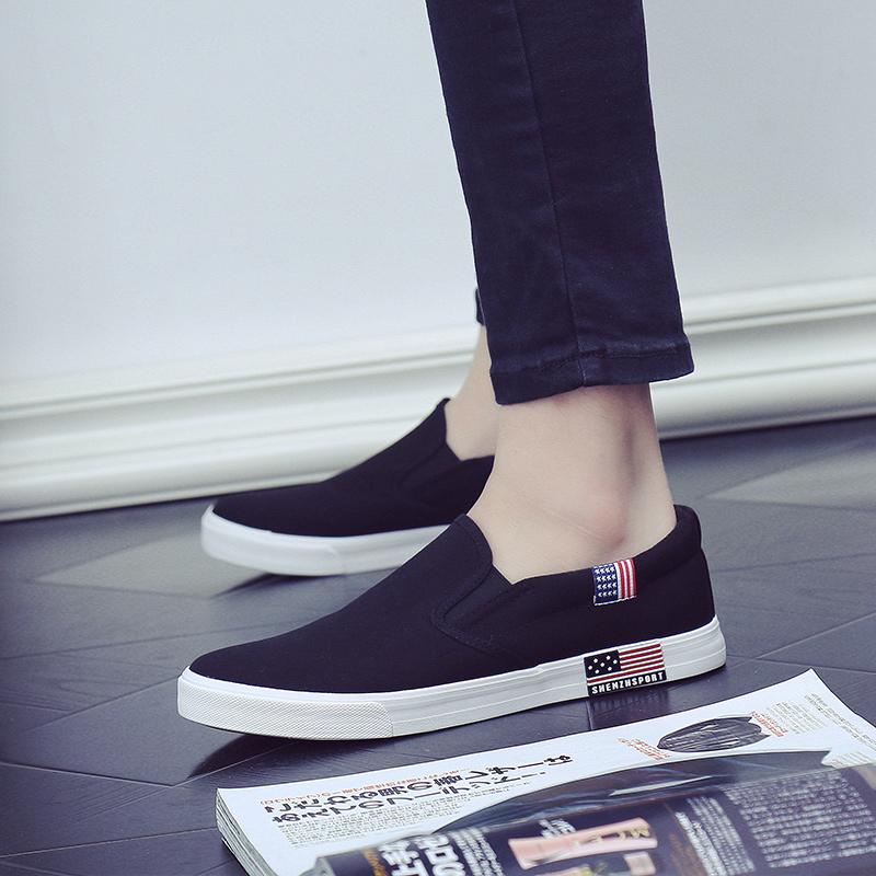 天穿简单布鞋懒汉鞋男子帆布鞋没鞋带无鞋带板鞋
