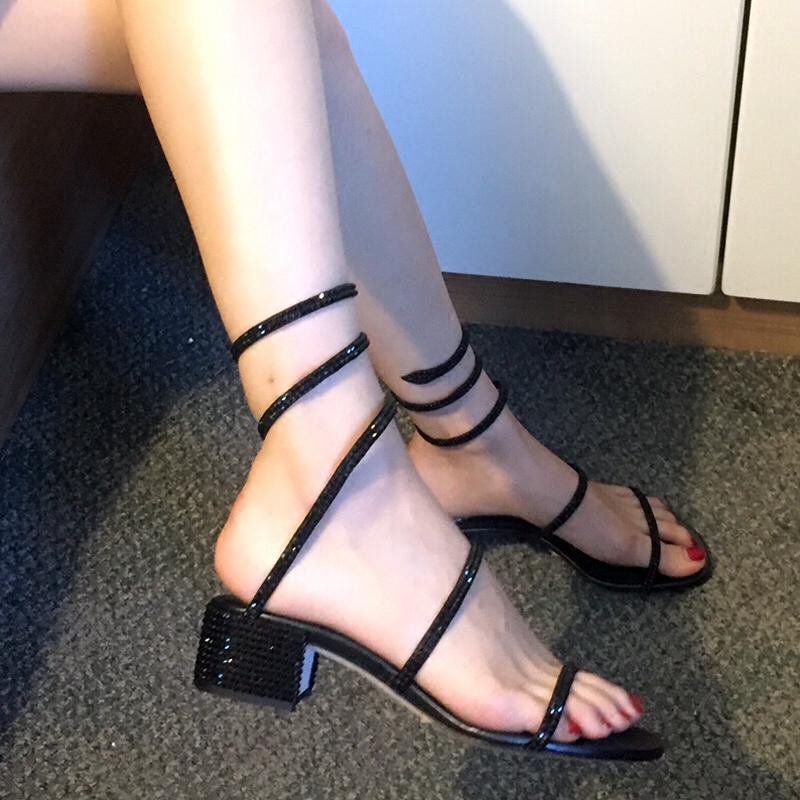 网水钻女凉鞋