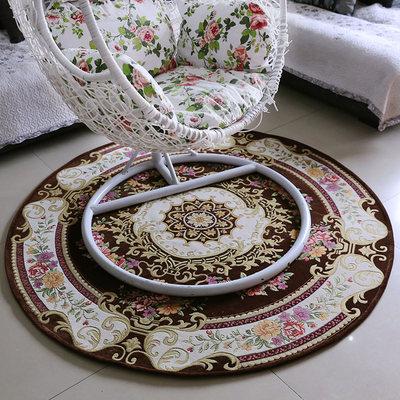 七七家 欧式圆形地毯床边地毯电脑转椅垫子家用椅子垫吊兰椅垫