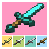 Original My World Minecraft Weapon Tools Large Full Collection Diamond Swords and Axe Shovel Handmade Paper Molds