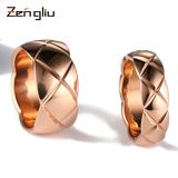 时尚简约镀18k玫瑰金戒指 女菱形格纹食指情侣戒子指环潮人首饰品