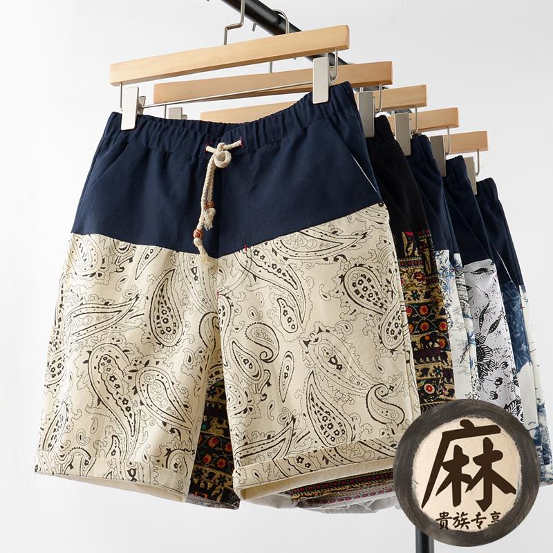 亚麻短裤男士七分裤
