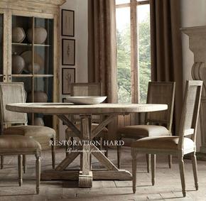 出口法国 美式乡村纯实木复古餐桌老榆木圆桌 法式原木做旧休闲桌