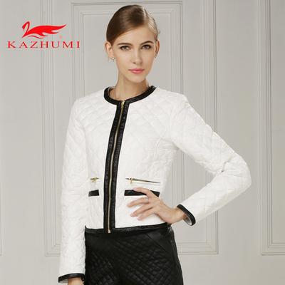 卡朱米秋冬新款圆领轻薄修身羽绒服女士短款外套韩版时尚潮女