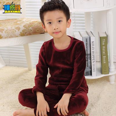男童儿童保暖内衣套装加绒加厚中大童宝宝12-15岁小孩睡衣秋冬季
