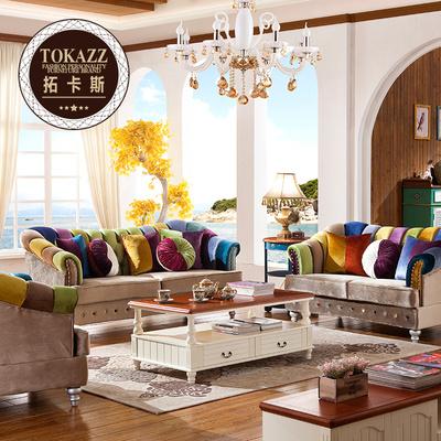 拓卡斯美式鄉村個性時尚創意藝術酒店布藝沙發 大小戶型實木彩色哪個品牌好