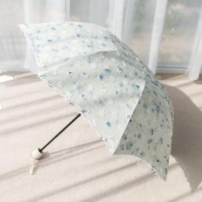 双层防晒防紫外线韩版小清新女神蕾丝雨伞折叠晴雨两用黑胶太阳伞