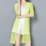 Summer's new women's mesh tanning dress lace five-sleeve long women's cardigan thin air-conditioned shirt shawl jacket