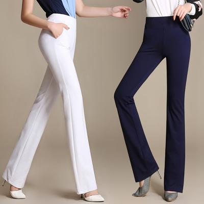2019春装夏装中高腰弹力直筒微喇裤长裤白色女裤显高挑显瘦工作裤