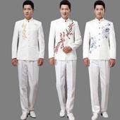 新款白色刺绣立领中山装演出服舞台装男士大合唱表演服男主持礼服