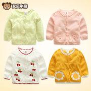 宝宝针织开衫薄春秋装0-1-3岁女童毛衣纯棉上衣线衣婴儿毛衣外套