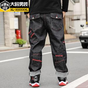 雷哈格尔大码牛仔裤男秋季加肥加大号男裤多口袋潮胖子牛仔裤宽松