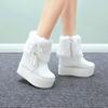 白色高跟棉靴