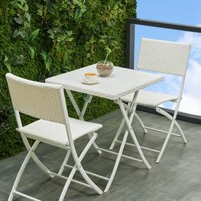 户外藤椅三件套阳台桌椅单人折叠休闲铁艺桌椅现代简约藤编桌椅