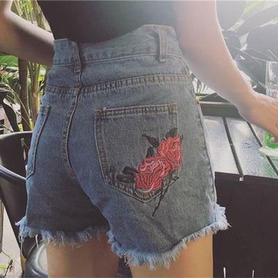 夏装韩国复古玫瑰刺绣花朵高腰做旧牛仔短裤 裤脚毛边显瘦热裤女