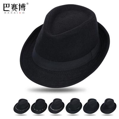 黑色爵士帽男女小礼帽遮阳草帽新郎英伦绅士中老年帽子西部牛仔帽