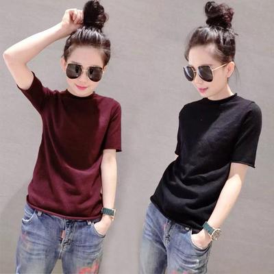 黑色t恤女短袖修身毛针织衫女半高领卷边秋冬打底衫纯色圆领毛衣