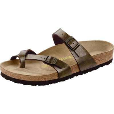 Birkenstock女鞋拖鞋交叉皮带扣套趾软木底夏季美国直邮B14095T