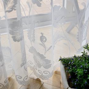 中式田园高档绣花纯白窗纱帘卧室客厅书房阳台落地飘窗帘成品清新