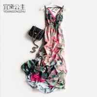 宜黛公主波西米亚长裙沙滩裙马尔代夫海边度假大码显瘦连衣裙女