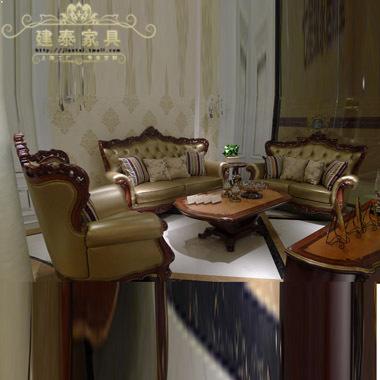 建泰 美式拼花茶几 客厅实木茶几 客厅茶几组个 欧式实木雕花茶几今日特惠