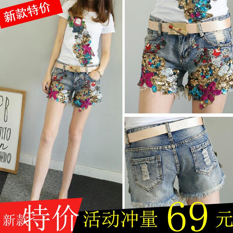 韩国刺绣牛仔短裤