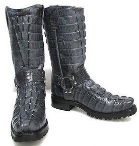 海外代购 马靴牛仔靴 男子自行车鳄鱼尾巴Letaher西部牛仔靴灰色