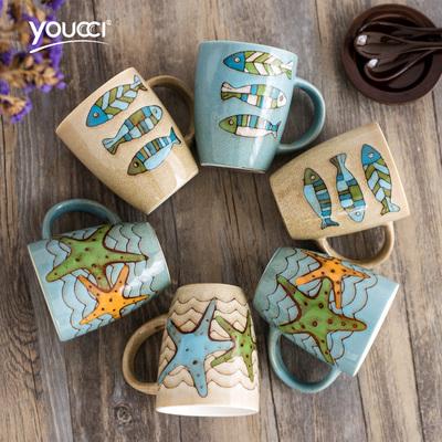 youcci悠瓷 个性海星陶瓷水杯咖啡杯 创意鱼纹马克杯子牛奶杯带盖