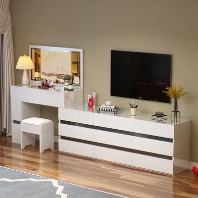 包邮梳妆台卧室多功能组合 简约现代书桌电视柜梳妆台收纳实木在哪买