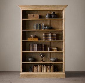 法式乡村复古家具美国RH橡木全实木雕花柜子欧式简约书柜 储物柜