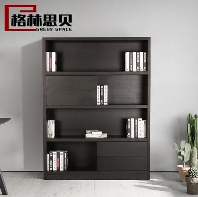 简约现代黑色橡木贴皮书房书柜书架可定制北欧带抽屉置物架陈列架包邮