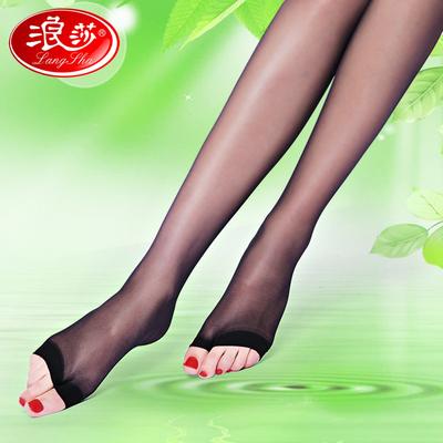 浪莎丝袜夏季超薄款连裤袜鱼嘴丝袜防勾丝女士露趾袜漏脚趾黑丝袜