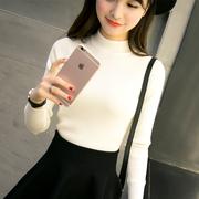 半高领毛衣女秋冬新款2018黑色短款套头长袖上衣紧修身针织打底衫