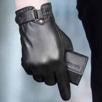 Gants en cuir Gants en cuir chaud pour hommes Gants en cuir pour motocyclette et velours gants en peau de mouton