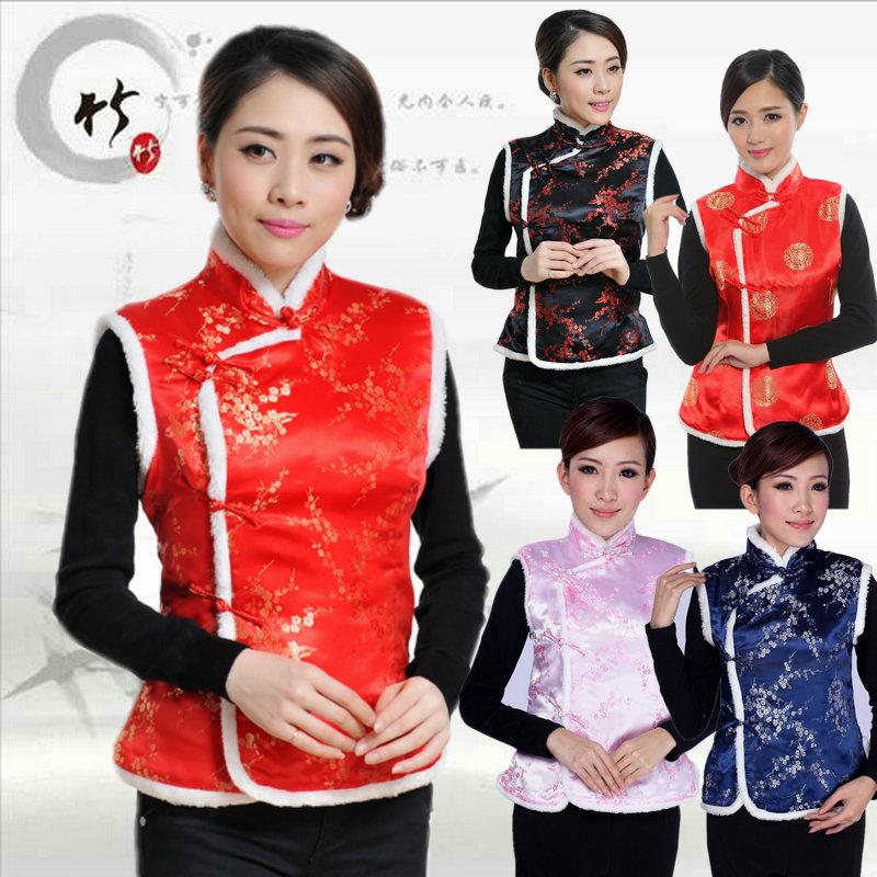 Autumn and winter Tang suit men and women Chinese cotton vest plum blossom cake vest cotton vest hotel supermarket