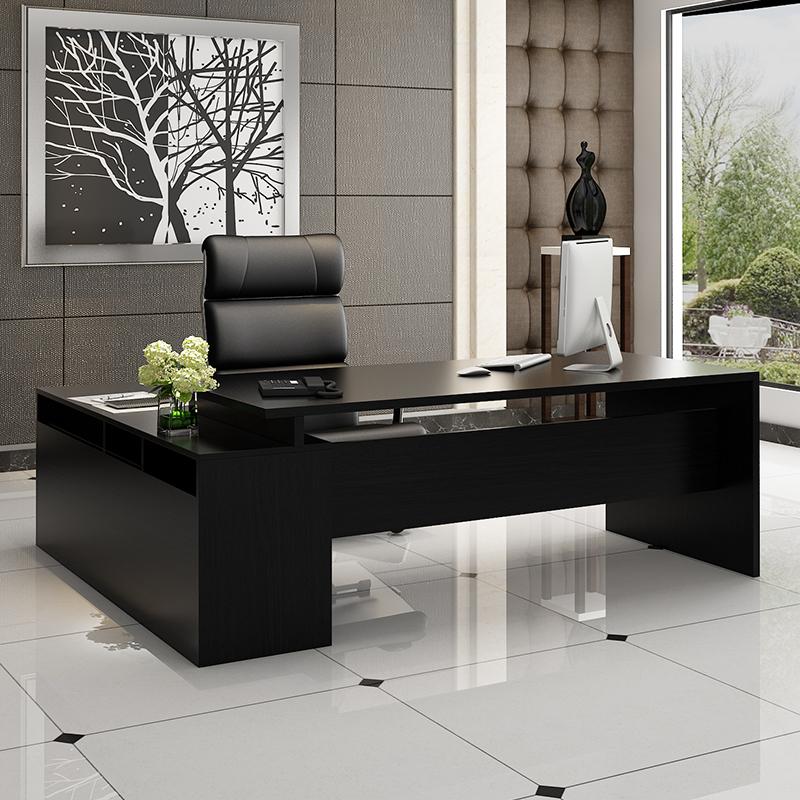 主管桌老板桌总裁桌简约现代单人新款黑色大气台式办公豪华组合