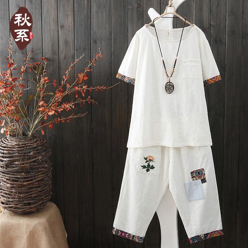 2017新款套装女夏民族风T恤宽松刺绣中裤两件套文艺休闲棉麻上衣