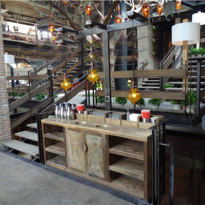 咖啡桌椅咖啡自助台备餐台展示柜小卖老榆木展示桌椅漫咖啡榆木