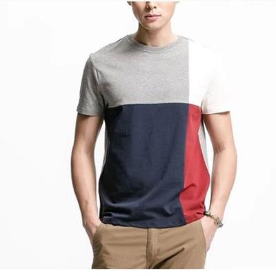 莫迪洛JJ品牌男裝男士夏薄短袖T恤圓領純棉彈力萊卡拼色修身潮T恤新品特惠