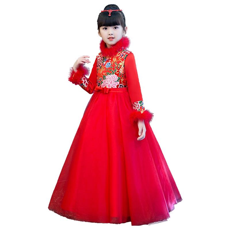 儿童旗袍秋冬季中国风唐装宝宝女孩中式女童礼服加厚保暖长袖冬天